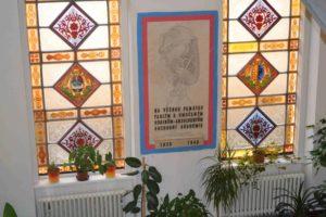 Vitráže a památní deska Obchodní akademie střední škola Prostějov