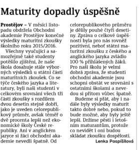 Článek o maturitách Obchodní akademie střední škola Prostějov