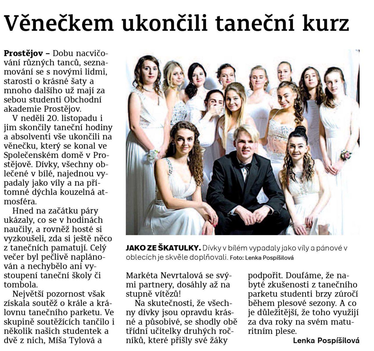 Článek o Závěrečném věnečku tanečních Obchodní akademie střední škola Prostějov