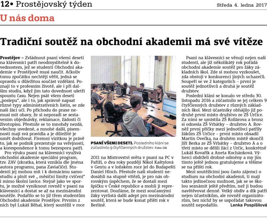 Článek o soutěži na Obchodní akademie střední škola Prostějov