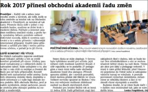 Článek o změnách 2017 Obchodní akademie střední škola Prostějov